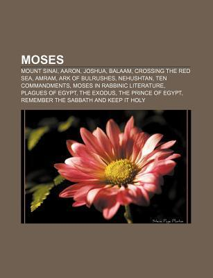 Moses: Mount Sinai, Aaron, Joshua, Balaam, Crossing the Red Sea, Amram, Ark of Bulrushes, Nehushtan, Ten Commandments  by  Source Wikipedia