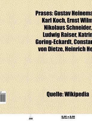 PR Ses: Gustav Heinemann, Nikolaus Schneider, Ludwig Raiser, Katrin G Ring-Eckardt, Carl Ferdinand Wilhelm Walther, Constantin Books LLC