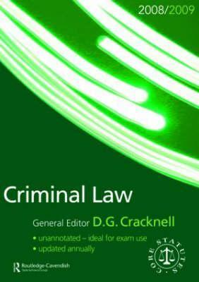 Criminal Law Statutes 2008-2009  by  Cracknell Dougl