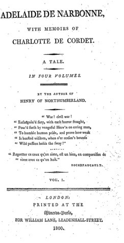 Adelaide de Narbonne With Memoirs of Charlotte de Cordet Helen Craik
