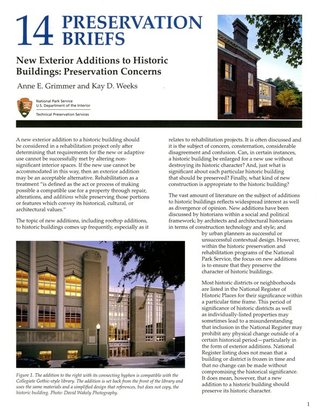 New Exterior Additions To Historic Buildings: Preservation Concerns: Preservation Concerns  by  Anne E. Grimmer