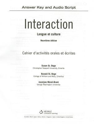 Sam Answer Key with Audio Script for St. Onge/St. Onge/Powers Interaction: Langue Et Culture, 9th  by  Susan St Onge