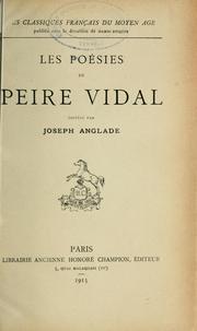 Les Poésies de Peire Vidal Peire Vidal