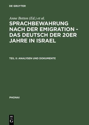Analysen Und Dokumente  by  Anne Betten