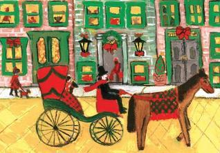 Carriage Ride Through Town Boxed Holiday Half Notecards  by  Galison