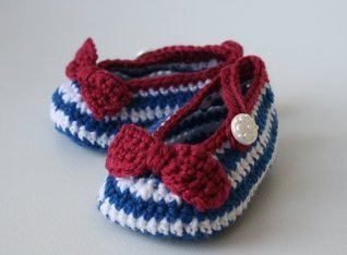 Crochet pattern nautical french style baby booties (52) (Crochet booites)  by  Luz Mendoza
