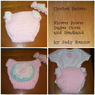 Crochet Pattern - Flower Power Diaper Cover and Headband  by  Judy Rennie