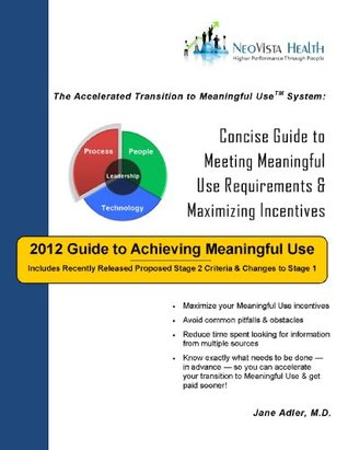 2012 Guide to Achieving EHR Meaningful Use: Concise Guide to Meeting Meaningful Use Requirements & Maximizing Incentives Jane Adler