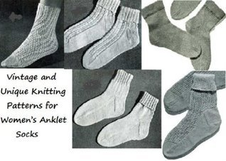Vintage and Unique Knitting Patterns for Womens Anklet Socks Unknown