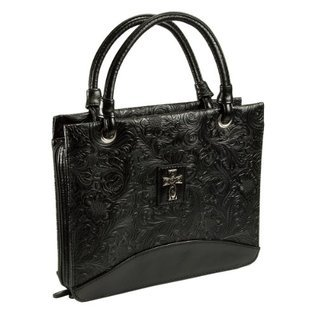 Black LuxLeather Large Purse with floral designed  by  Christian Art Gfit