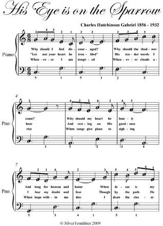 His Eye Is On The Sparrow Easy Piano Sheet Music  by  Traditional Spanish Folk Song