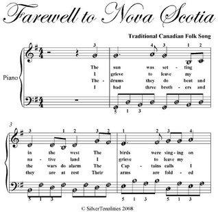 Farewell to Nova Scotia Easy Piano Sheet Music Traditional Canadian
