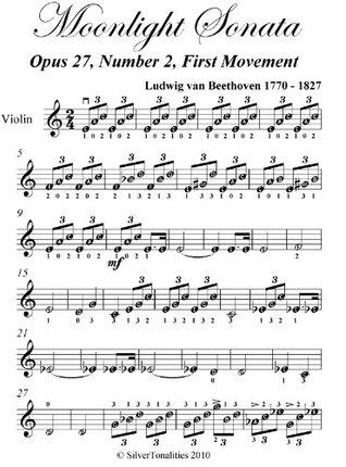 Moonlight Sonata 1st Mvt Beethoven Easy Violin Sheet Music  by  Ludwig van Beethoven