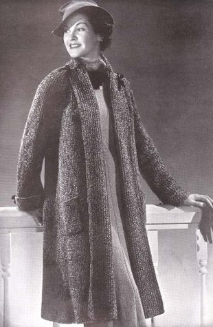 Knit Swagger Coat Knitting Pattern Size 16 to 18  by  Unknown