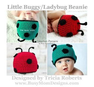 Crochet Pattern - Little Buggy / Ladybug Beanie - Easy Hat Pattern For All Sizes -  by  Busy Mom Designs by Tricia Roberts