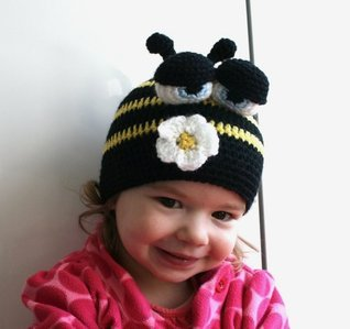 Crochet pattern busy bee beanie (47) 5 sizes newborn to adult (crochet hats)  by  Luz Mendoza