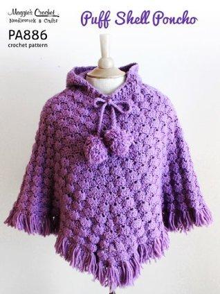 Crochet Pattern Puff Shell Poncho PA886-R Maggie Weldon