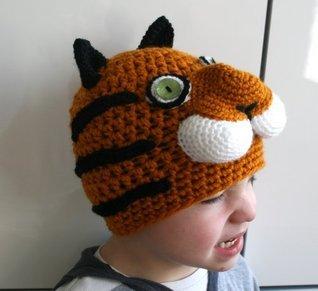 Crochet pattern tiger beanie hat 5 sizes newborn to adult (45) (crochet hat)  by  Luz Mendoza
