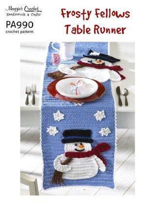 Crochet Pattern Frosty Fellows Table Runner PA990-R Maggie Weldon