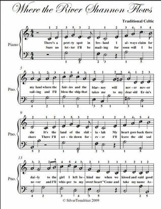 Where the River Shannon Flows Easy Piano Sheet Music  by  Traditional Celtic
