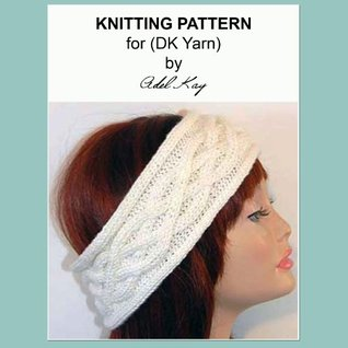 Cara Aran Cable Ear Warmer Wide Head Wrap Head Band Headband DK Yarn Knitting Pattern Adel Kay