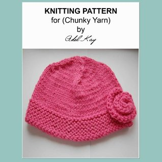 Elspeth Girls Ladies One Size Rose Pink Beanie Hat Chunky Yarn Knitting Pattern  by  Adel Kay