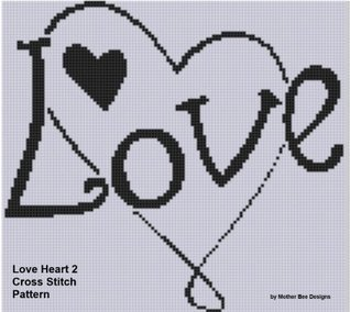 Love Heart 2 Cross Stitch Pattern NOT A BOOK