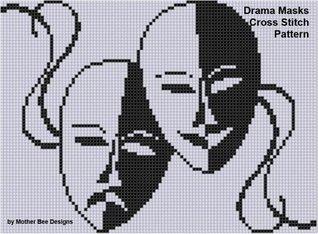 Drama Masks Cross Stitch Pattern NOT A BOOK