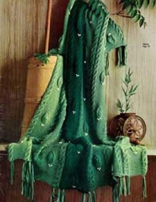 LEAF PATTERN KNITTED AFGHAN - Vintage Knitting Pattern No. 742-14 Northern Lights Vintage