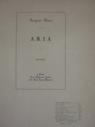 Aria for Alto Saxophone and Piano  by  Jacques Ibert