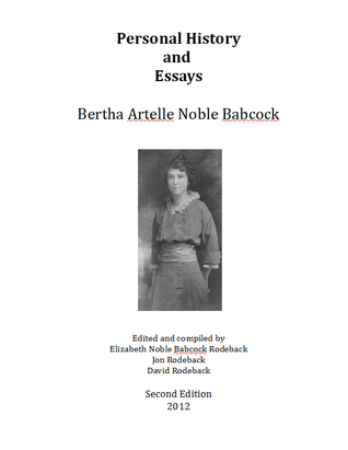 Personal History and Essays  by  Bertha Artelle Noble Babcock