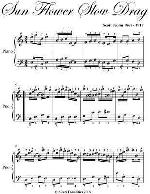 Sun Flower Slow Drag Easy Piano Sheet Music Scott Joplin