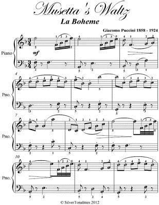 Musettas Waltz La Boheme Elementary Piano Sheet Music Giacomo Puccini