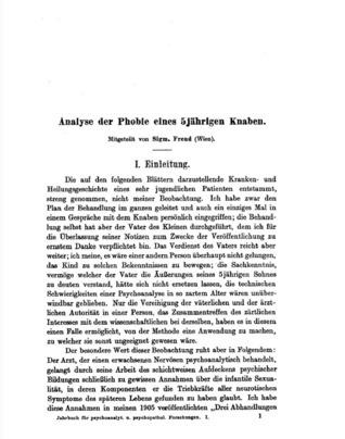 Analyse der Phobie eines 5jährigen Knaben Sigmund Freud