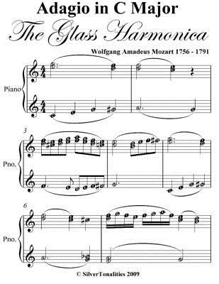 Adagio in C Major the Glass Harmonic Elementary Piano Sheet Music  by  Wolfgang Amadeus Mozart
