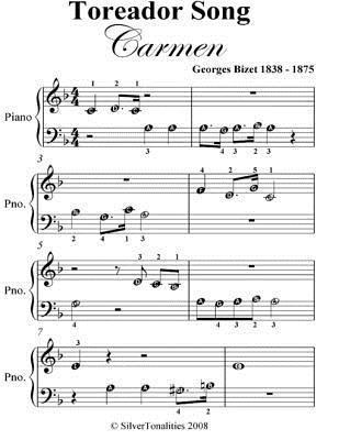 Toreador Song Carmen Beginner Piano Sheet Music Georges Bizet