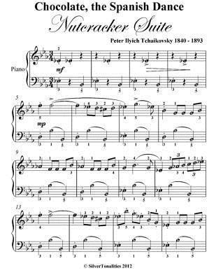 Chocolate the Spanish Dance Nutcracker Suite Easy Piano Sheet Music Peter Ilyich Tchaikovsky