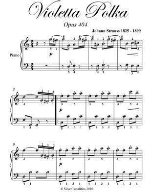 Violetta Polka Easy Piano Sheet Music  by  Johann Strauss