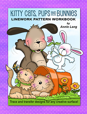 Kitty Cats, Pups and Bunnies: Linework Pattern Workbook Annie Lang