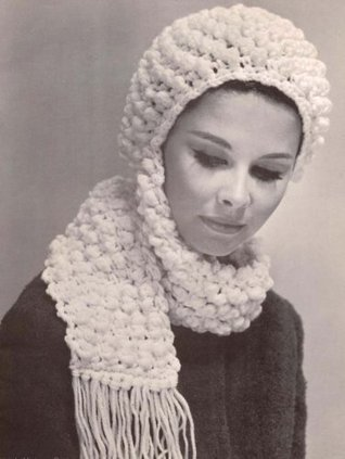 Popcorn Hat with Scarf Crochet Pattern Crocheted Cap  by  Charlie Cat Patterns