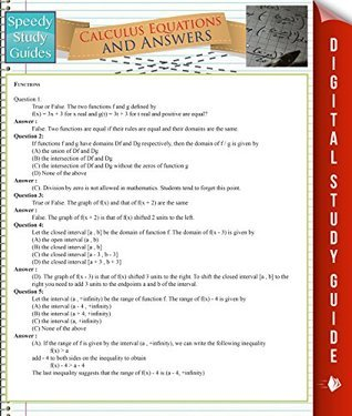 Calculus Equations And Answers Speedy Publishing