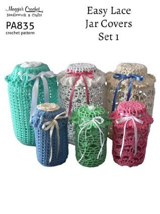 Crochet Pattern Easy Lace Jar Covers Set 1 PA835-R  by  Maggie Weldon