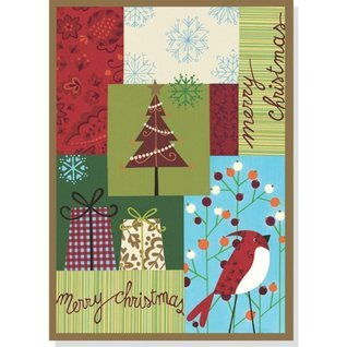 Merry Christmas Patchwork Large Boxed Holiday Cards  by  Peter Pauper Press