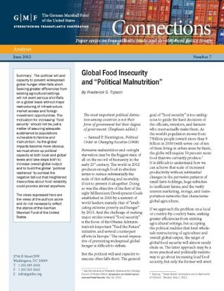 Global Food Insecurity and Political Malnutrition  by  Frederick S. Tipson