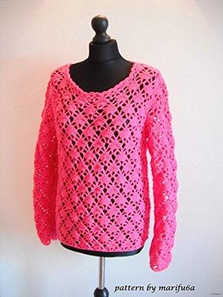crochet pink sweater pullover pattern pdf nr 41: crochet pink sweater pullover pattern pdf nr 41 marifu6a
