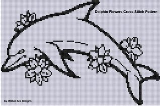 Dolphin Flowers Cross Stitch Pattern  by  Mother Bee Designs
