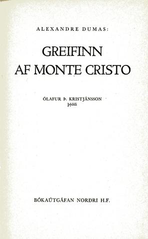Greifinn af Monte Cristo  by  Alexandre Dumas