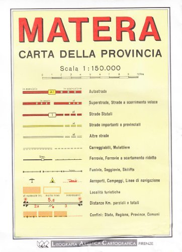 Matera Provincial Road Map (1:150, 000)  by  Litografia Artistica Cartografica