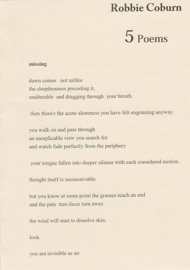 5 Poems Robbie Coburn