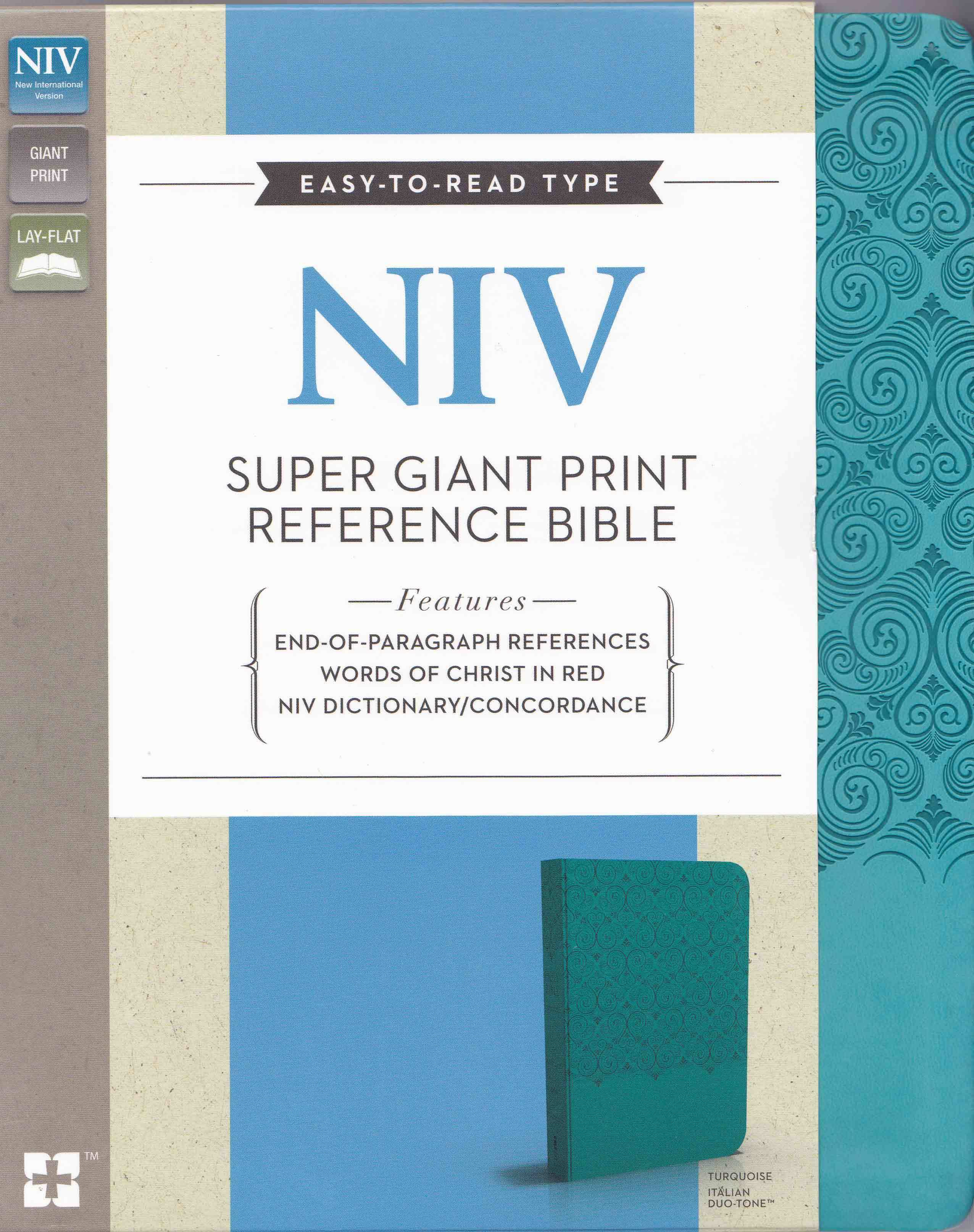 NIV, Super Giant Print Reference Bible, Giant Print, Imitation Leather, Blue, Lay Flat  by  Anonymous